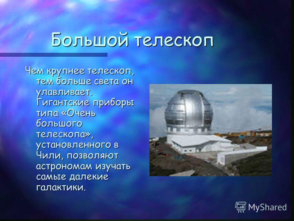 Большой телескоп Чем крупнее телескоп, тем больше света он улавливает. Гигантские приборы типа «Очень большого телескопа», установленного в Чили, позволяют астрономам изучать самые далекие галактики.