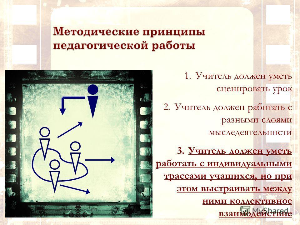 Методические принципы педагогической работы 1.Учитель должен уметь сценировать урок 2.Учитель должен работать с разными слоями мыследеятельности 3.Учитель должен уметь работать с индивидуальными трассами учащихся, но при этом выстраивать между ними к