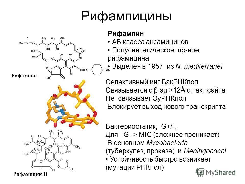 Рифампицины Рифампин АБ класса анзамицинов Полусинтетическое пр-ное рифамицина Выделен в 1957 из N. mediterranei Селективный инг БакРНКпол Связывается с β su >12Å от акт сайта Не связывает ЭуРНКпол Блокирует выход нового транскрипта Бактериостатик, G