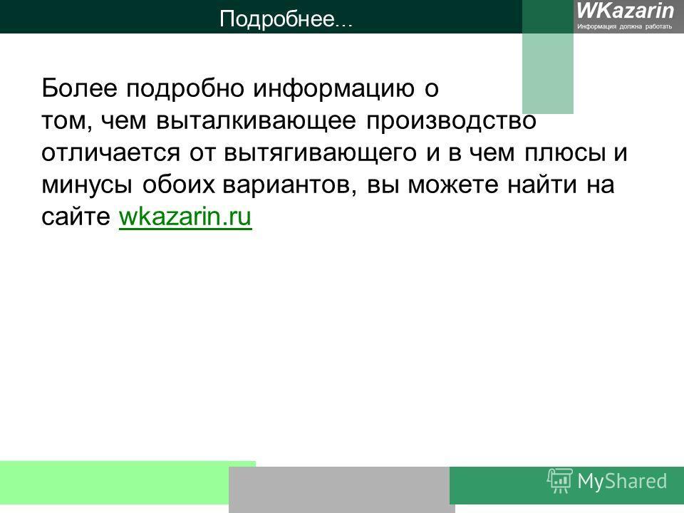Подробнее … Более подробно информацию о том, чем выталкивающее производство отличается от вытягивающего и в чем плюсы и минусы обоих вариантов, вы можете найти на сайте wkazarin.ruwkazarin.ru