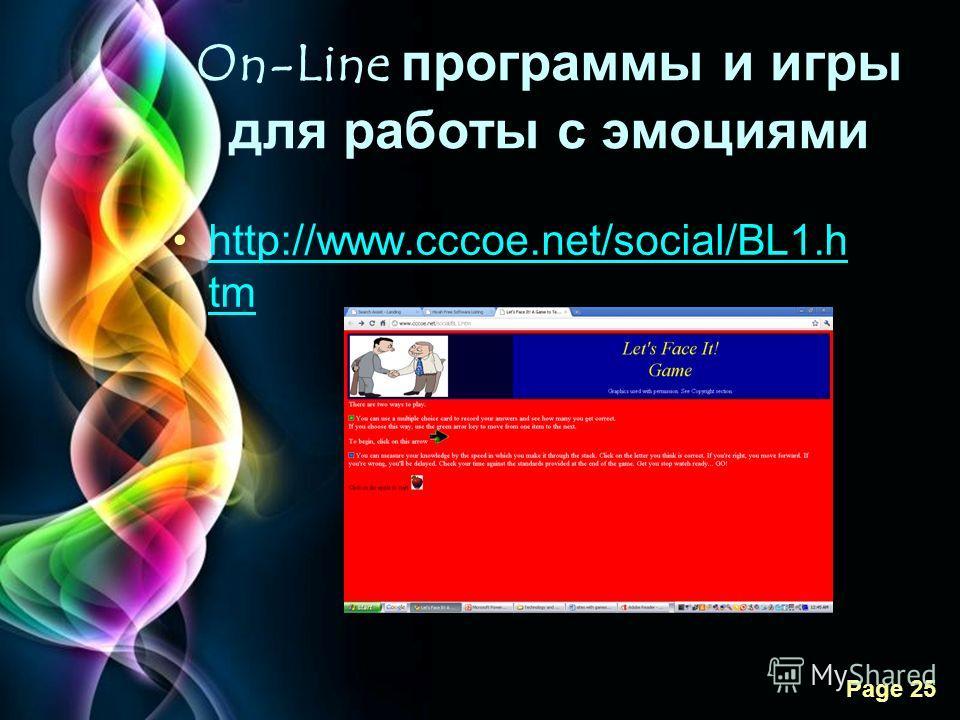 Free Powerpoint Templates Page 25 On-Line программы и игры для работы с эмоциями http://www.cccoe.net/social/BL1.h tmhttp://www.cccoe.net/social/BL1.h tm