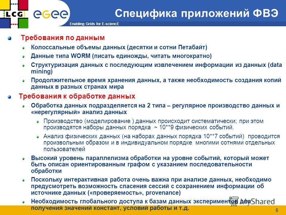 Enabling Grids for E-sciencE 5 Специфика приложений ФВЭ Требования по данным Колоссальные объемы данных (десятки и сотни Петабайт) Данные типа WORM (писать единожды, читать многократно) Структуризация данных с последующим извлечением информации из да