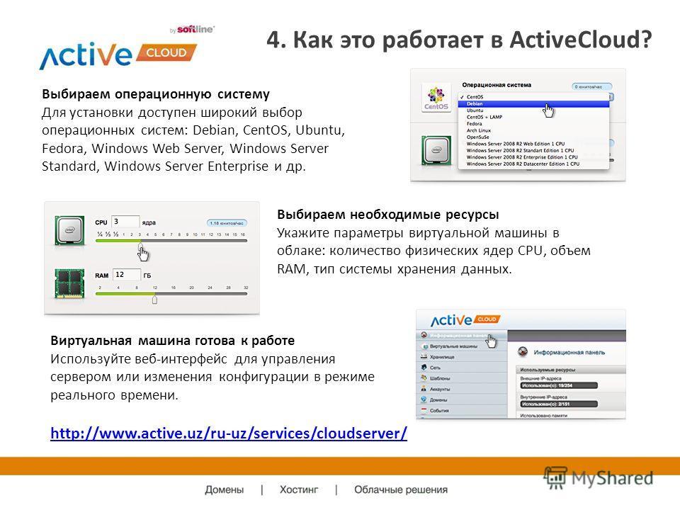 4. Как это работает в ActiveCloud? Выбираем операционную систему Для установки доступен широкий выбор операционных систем: Debian, CentOS, Ubuntu, Fedora, Windows Web Server, Windows Server Standard, Windows Server Enterprise и др. Выбираем необходим