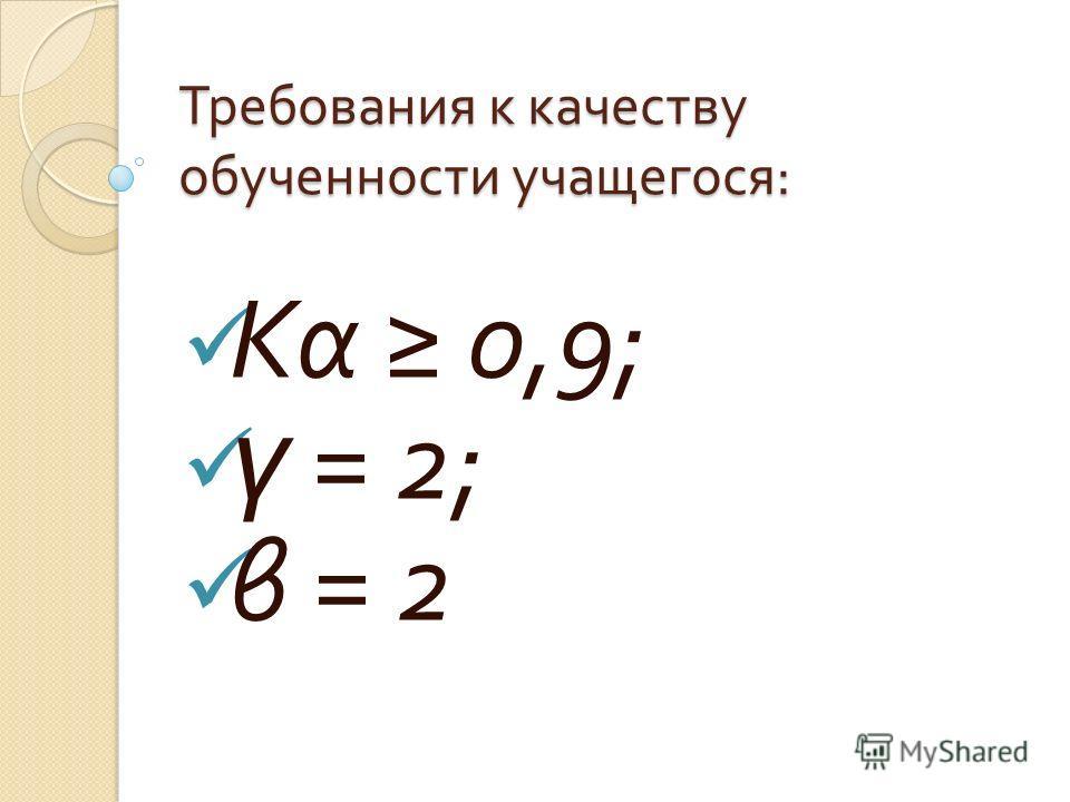 Требования к качеству обученности учащегося : Кα 0,9; ү = 2; β = 2