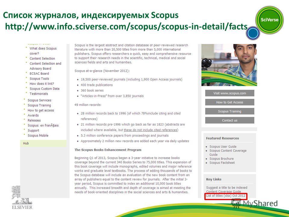Список журналов, индексируемых Scopus http://www.info.sciverse.com/scopus/scopus-in-detail/facts