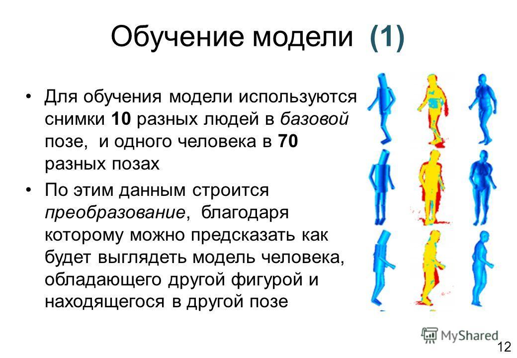 Обучение модели (1) Для обучения модели используются снимки 10 разных людей в базовой позе, и одного человека в 70 разных позах По этим данным строится преобразование, благодаря которому можно предсказать как будет выглядеть модель человека, обладающ