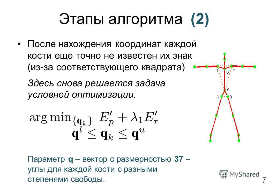 Этапы алгоритма (2) После нахождения координат каждой кости еще точно не известен их знак (из-за соответствующего квадрата) Здесь снова решается задача условной оптимизации. Параметр q – вектор с размерностью 37 – углы для каждой кости с разными степ