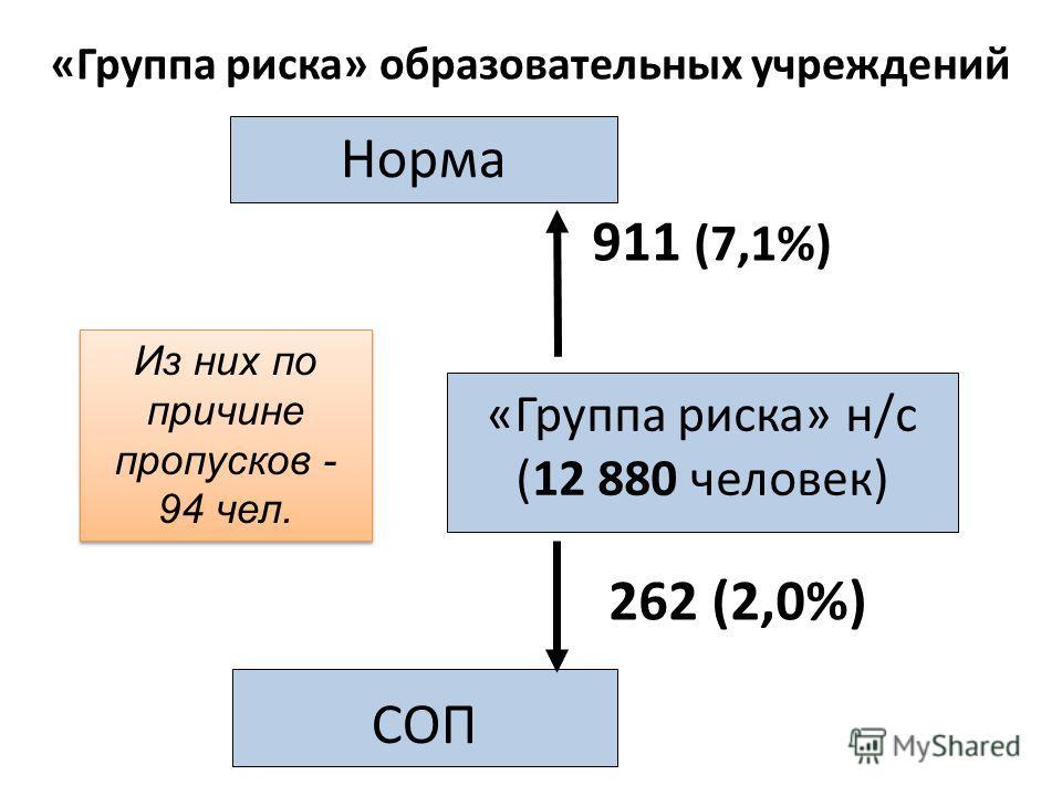«Группа риска» н/с (12 880 человек) СОП Норма 911 (7,1%) 262 (2,0%) Из них по причине пропусков - 94 чел. «Группа риска» образовательных учреждений