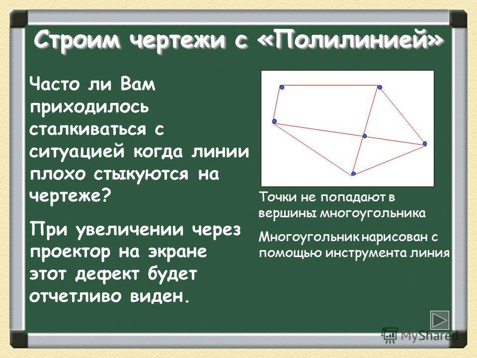 Строим чертежи с «Полилинией» Часто ли Вам приходилось сталкиваться с ситуацией когда линии плохо стыкуются на чертеже? При увеличении через проектор на экране этот дефект будет отчетливо виден. Точки не попадают в вершины многоугольника Многоугольни