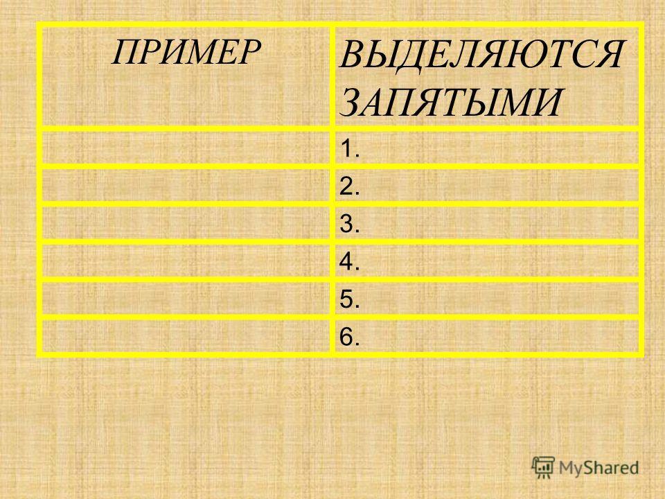 ПРИМЕР ВЫДЕЛЯЮТСЯ ЗАПЯТЫМИ 1. 2. 3. 4. 5. 6.