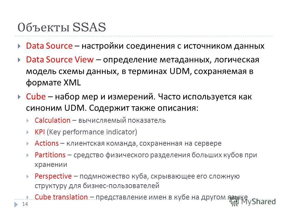 Объекты SSAS Data Source – настройки соединения с источником данных Data Source View – определение метаданных, логическая модель схемы данных, в терминах UDM, сохраняемая в формате XML Cube – набор мер и измерений. Часто используется как синоним UDM.