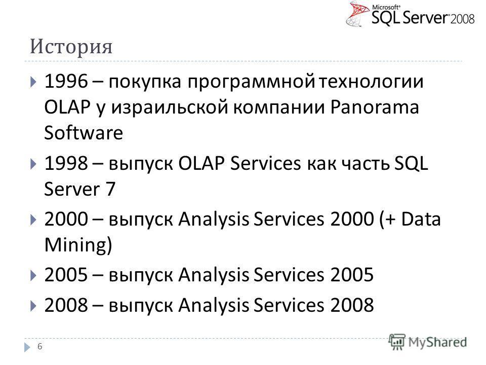 История 1996 – покупка программной технологии OLAP у израильской компании Panorama Software 1998 – выпуск OLAP Services как часть SQL Server 7 2000 – выпуск Analysis Services 2000 (+ Data Mining) 2005 – выпуск Analysis Services 200 5 2008 – выпуск An