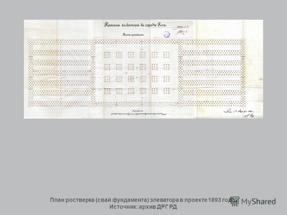План ростверка (свай фундамента) элеватора в проекте 1893 года. Источник: архив ДРГ РД