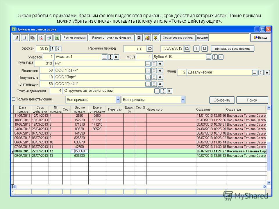 Экран работы с приказами. Красным фоном выделяются приказы, срок действия которых истек. Такие приказы можно убрать из списка - поставить галочку в поле «Только действующие».