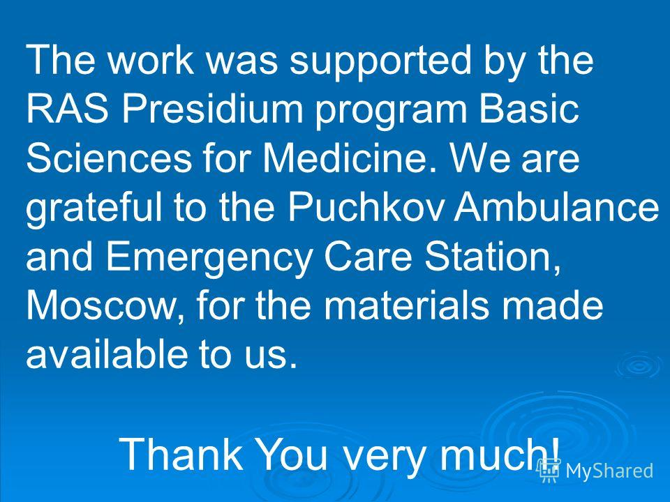 The work was supported by the RAS Presidium program Basic Sciences for Medicine. We are grateful to the Puchkov Ambulance and Emergency Care Station, Moscow, for the materials made available to us. Thank You very much!