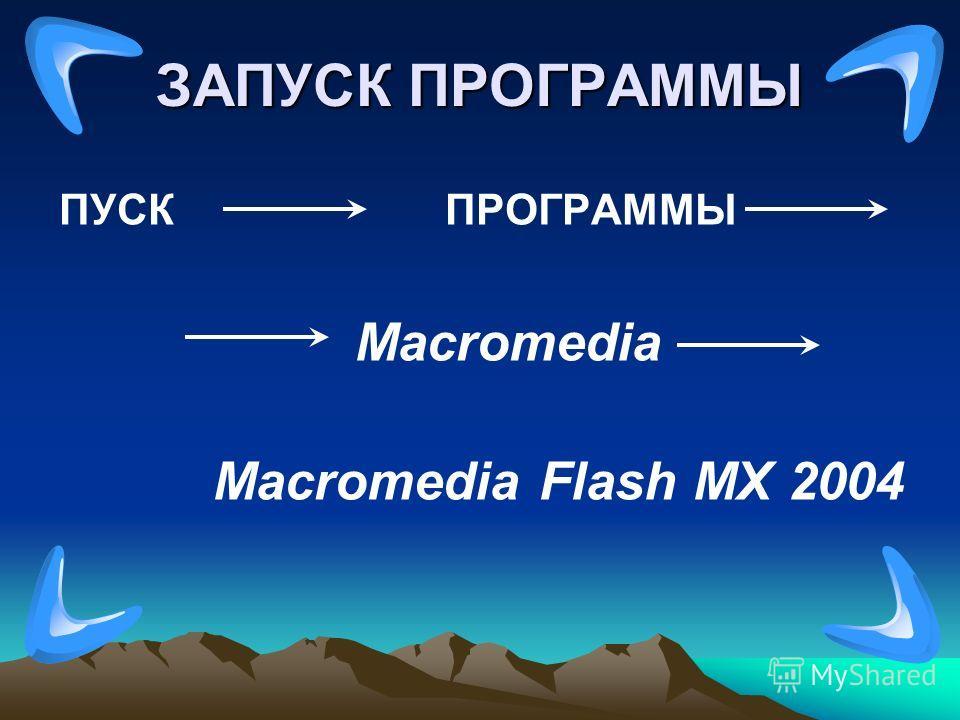 ЗАПУСК ПРОГРАММЫ ПУСК ПРОГРАММЫ Macromedia Macromedia Flash MX 2004