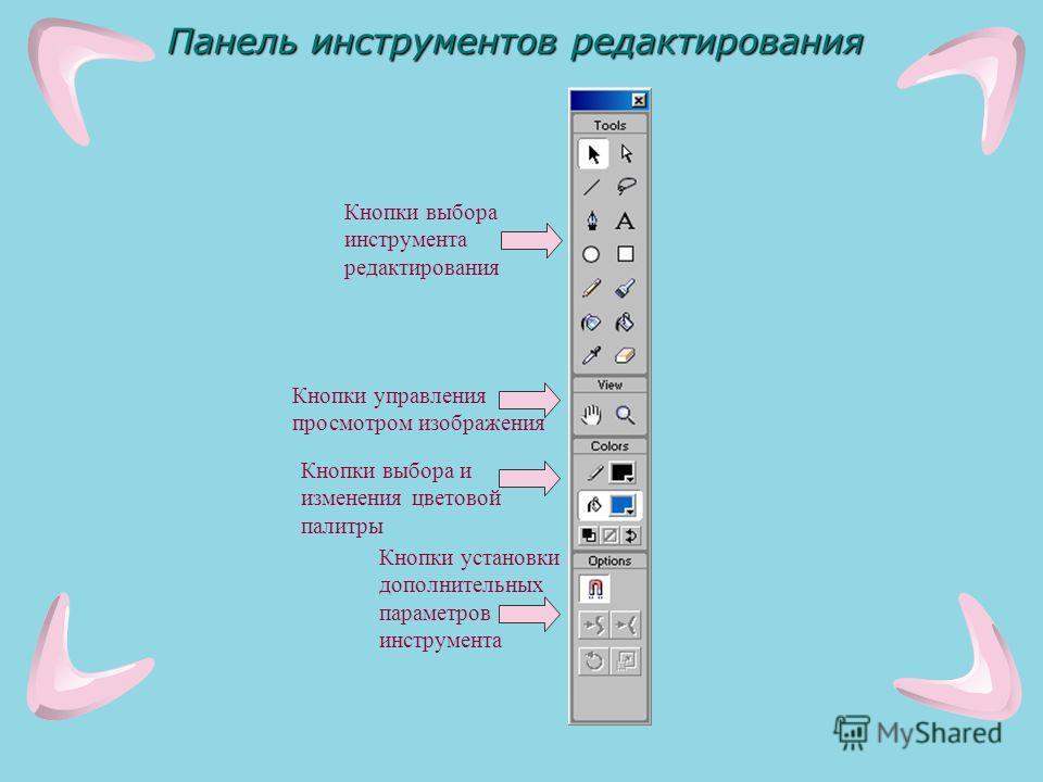 Панель инструментов редактирования Кнопки выбора инструмента редактирования Кнопки управления просмотром изображения Кнопки выбора и изменения цветовой палитры Кнопки установки дополнительных параметров инструмента