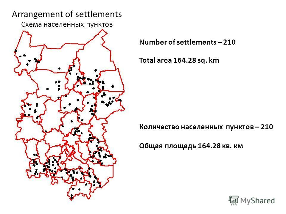 Arrangement of settlements Схема населенных пунктов Number of settlements – 210 Total area 164.28 sq. km Количество населенных пунктов – 210 Общая площадь 164.28 кв. км