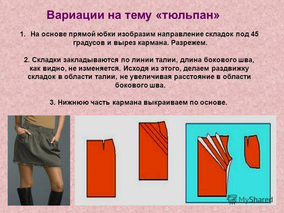 Вариации на тему «тюльпан» 1.На основе прямой юбки изобразим направление складок под 45 градусов и вырез кармана. Разрежем. 2. Складки закладываются по линии талии, длина бокового шва, как видно, не изменяется. Исходя из этого, делаем раздвижку склад