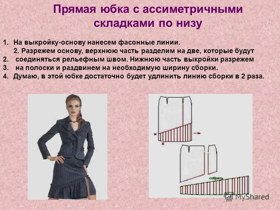 Прямая юбка с ассиметричными складками по низу 1.На выкройку-основу нанесем фасонные линии. 2. Разрежем основу, верхнюю часть разделим на две, которые будут 2. соединяться рельефным швом. Нижнюю часть выкройки разрежем 3. на полоски и раздвинем на не