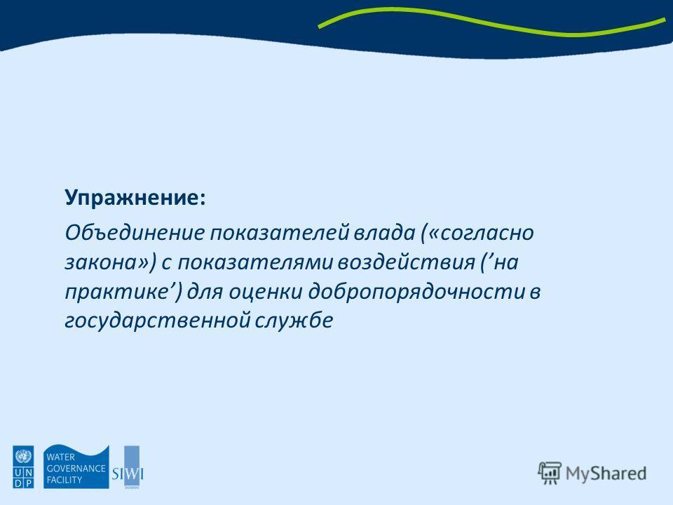 Упражнение: Объединение показателей влада («согласно закона») с показателями воздействия (на практике) для оценки добропорядочности в государственной службе