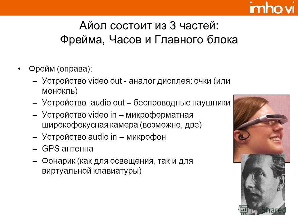 Айoл состоит из 3 частей: Фрейма, Часов и Главного блока Фрейм (оправа): –Устройство video out - аналог дисплея: очки (или монокль) –Устройство audio out – беспроводные наушники –Устройство video in – микроформатная широкофокусная камера (возможно, д