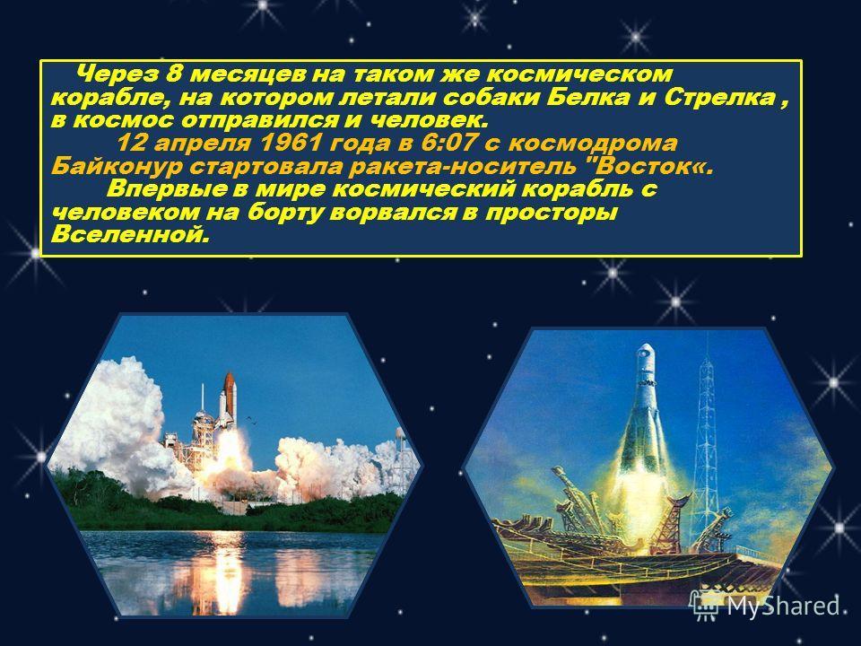 Через 8 месяцев на таком же космическом корабле, на котором летали собаки Белка и Стрелка, в космос отправился и человек. 12 апреля 1961 года в 6:07 с космодрома Байконур стартовала ракета-носитель