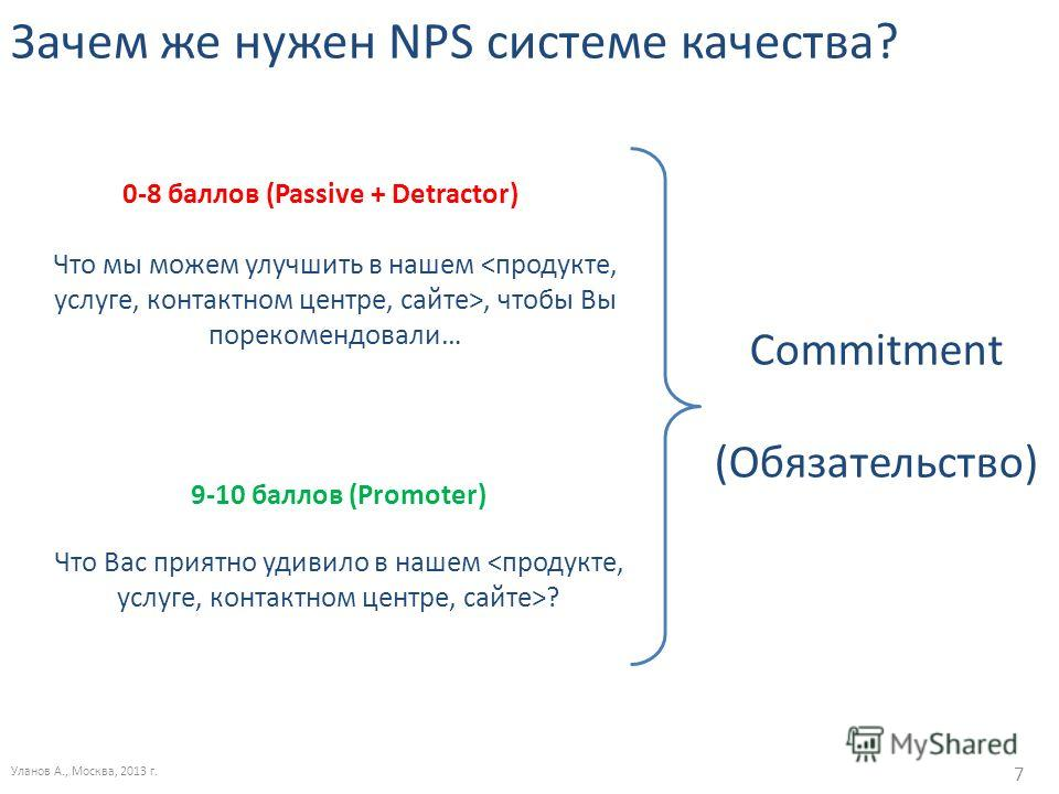 Зачем же нужен NPS системе качества? Уланов А., Москва, 2013 г. 7 Что мы можем улучшить в нашем, чтобы Вы порекомендовали… Что Вас приятно удивило в нашем ? 9-10 баллов (Promoter) 0-8 баллов (Passive + Detractor) Commitment (Обязательство)