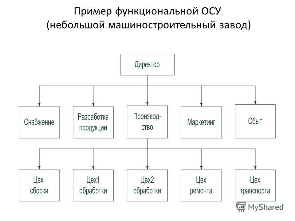 Пример функциональной ОСУ (небольшой машиностроительный завод)