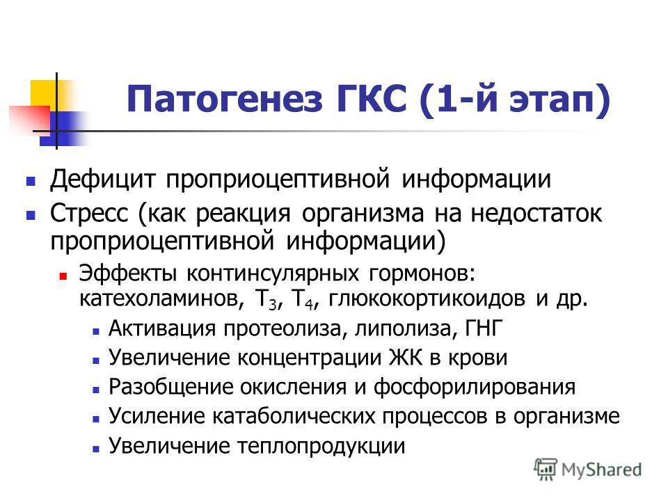 Патогенез ГКС (1-й этап) Дефицит проприоцептивной информации Стресс (как реакция организма на недостаток проприоцептивной информации) Эффекты континсулярных гормонов: катехоламинов, T 3, T 4, глюкокортикоидов и др. Активация протеолиза, липолиза, ГНГ