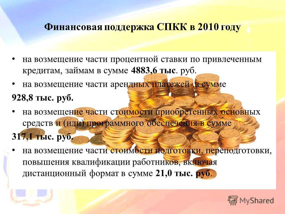 Финансовая поддержка СПКК в 2010 году на возмещение части процентной ставки по привлеченным кредитам, займам в сумме 4883,6 тыс. руб. на возмещение части арендных платежей в сумме 928,8 тыс. руб. на возмещение части стоимости приобретенных основных с