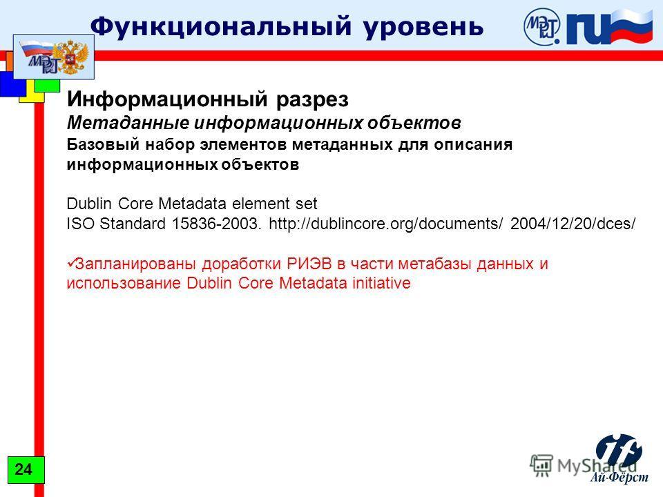Функциональный уровень Информационный разрез Метаданные информационных объектов Базовый набор элементов метаданных для описания информационных объектов Dublin Core Metadata element set ISO Standard 15836-2003. http://dublincore.org/documents/ 2004/12