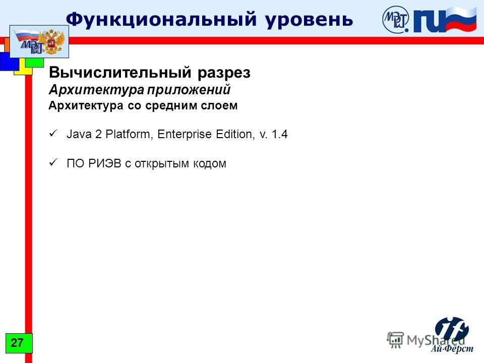 Функциональный уровень Вычислительный разрез Архитектура приложений Архитектура со средним слоем Java 2 Platform, Enterprise Edition, v. 1.4 ПО РИЭВ с открытым кодом 27