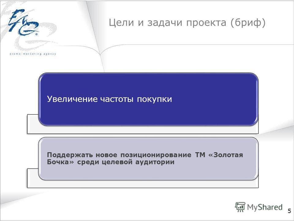 Цели и задачи проекта (бриф) 5 Увеличение частоты покупки Поддержать новое позиционирование ТМ «Золотая Бочка» среди целевой аудитории