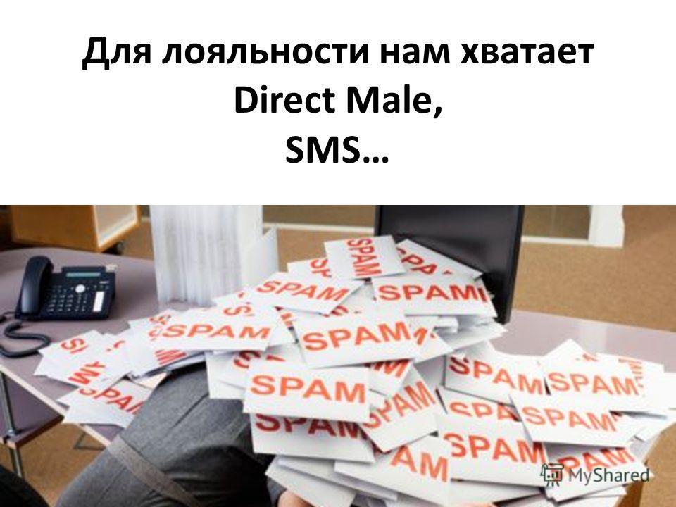 Для лояльности нам хватает Direct Male, SMS…
