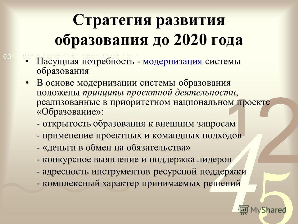 Стратегия развития образования до 2020 года Насущная потребность - модернизация системы образования В основе модернизации системы образования положены принципы проектной деятельности, реализованные в приоритетном национальном проекте «Образование»: -
