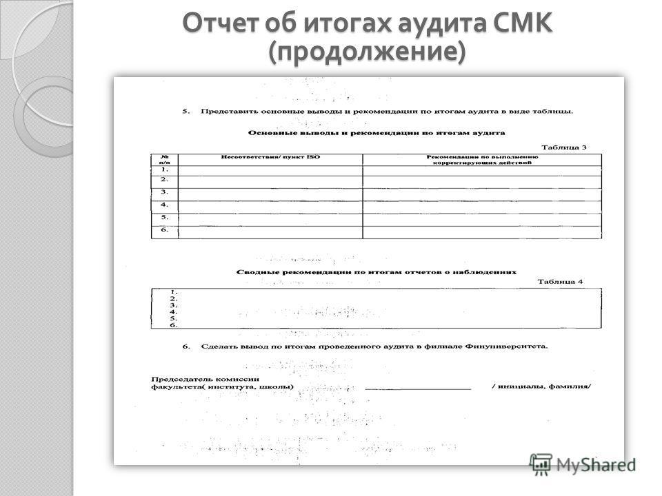 Отчет об итогах аудита СМК ( продолжение )