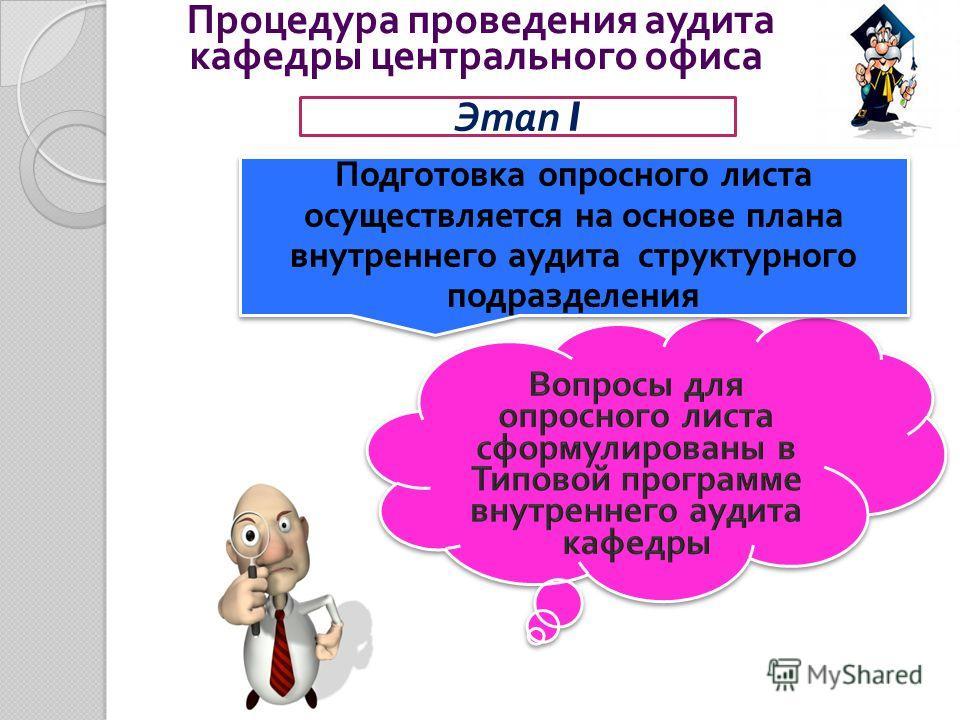Процедура проведения аудита кафедры центрального офиса Этап I