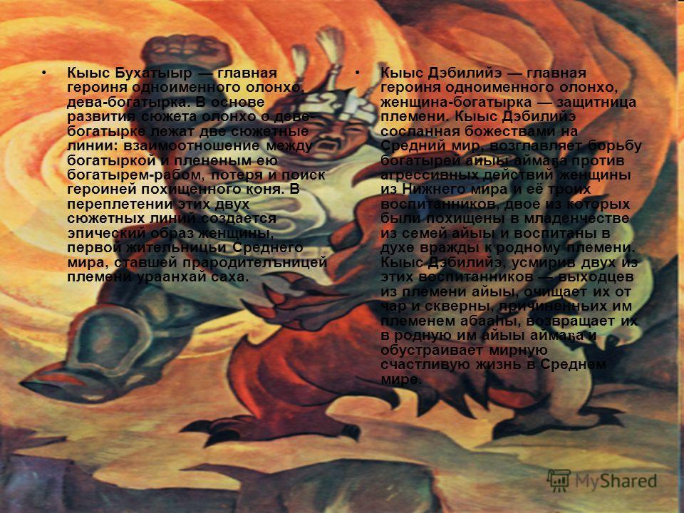 Кыыс Бухатыыр главная героиня одноименного олонхо, дева-богатырка. В основе развития сюжета олонхо о деве- богатырке лежат две сюжетные линии: взаимоотношение между богатыркой и плененым ею богатырем-рабом, потеря и поиск героиней похищенного коня. В