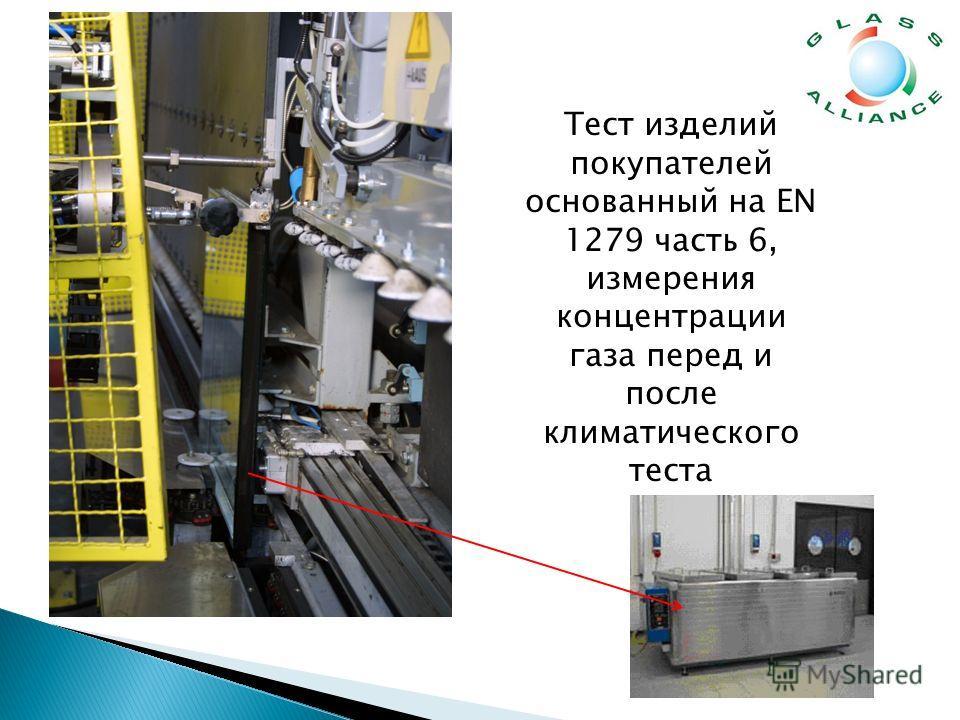 Тест изделий покупателей основанный на EN 1279 часть 6, измерения концентрации газа перед и после климатического теста