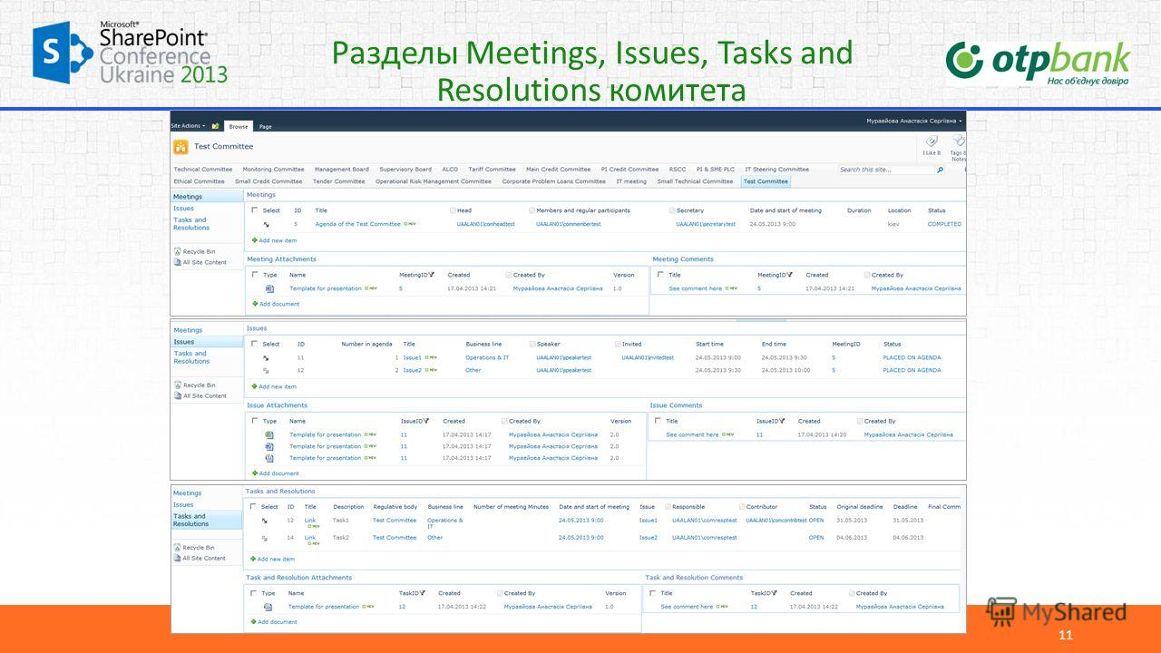 Разделы Meetings, Issues, Tasks and Resolutions комитета 11