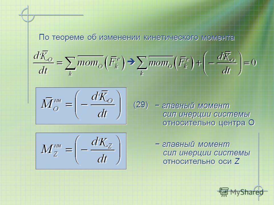 По теореме об изменении кинетического момента главный момент сил инерции системы относительно центра О (29) главный момент сил инерции системы относительно оси Z