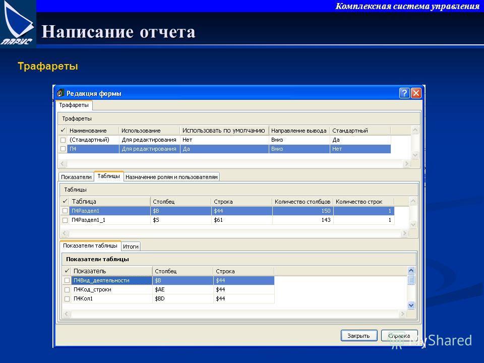 Комплексная система управления Написание отчета Трафареты
