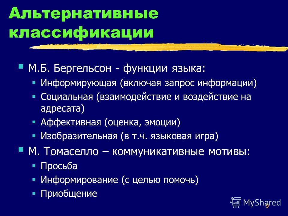 9 Альтернативные классификации М.Б. Бергельсон - функции языка: Информирующая (включая запрос информации) Социальная (взаимодействие и воздействие на адресата) Аффективная (оценка, эмоции) Изобразительная (в т.ч. языковая игра) М. Томаселло – коммуни