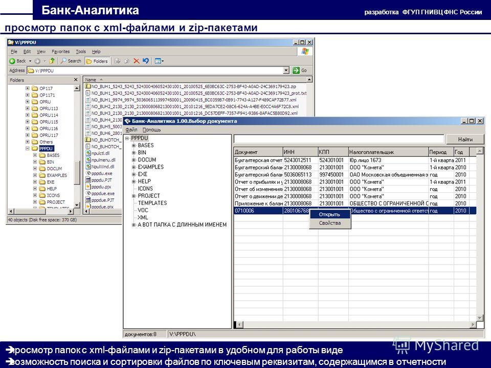 Банк-Аналитика разработка ФГУП ГНИВЦ ФНС России просмотр папок с xml-файлами и zip-пакетами в удобном для работы виде возможность поиска и сортировки файлов по ключевым реквизитам, содержащимся в отчетности просмотр папок с xml-файлами и zip-пакетами