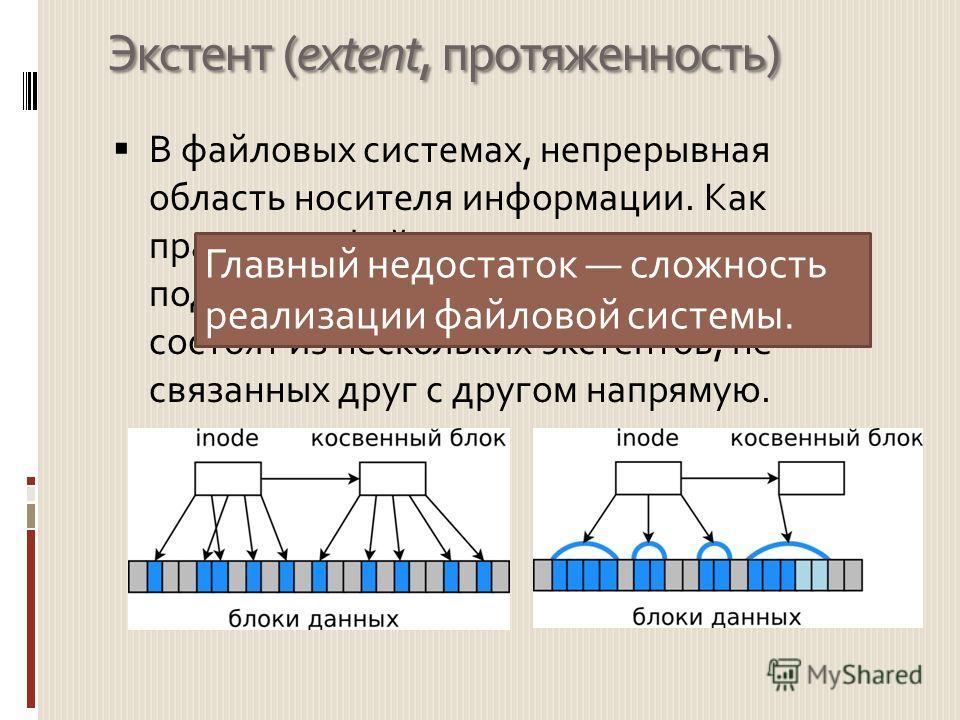 Экстент (extent, протяженность) В файловых системах, непрерывная область носителя информации. Как правило, в файловых системах с поддержкой экстентов, большие файлы состоят из нескольких экстентов, не связанных друг с другом напрямую. Главный недоста