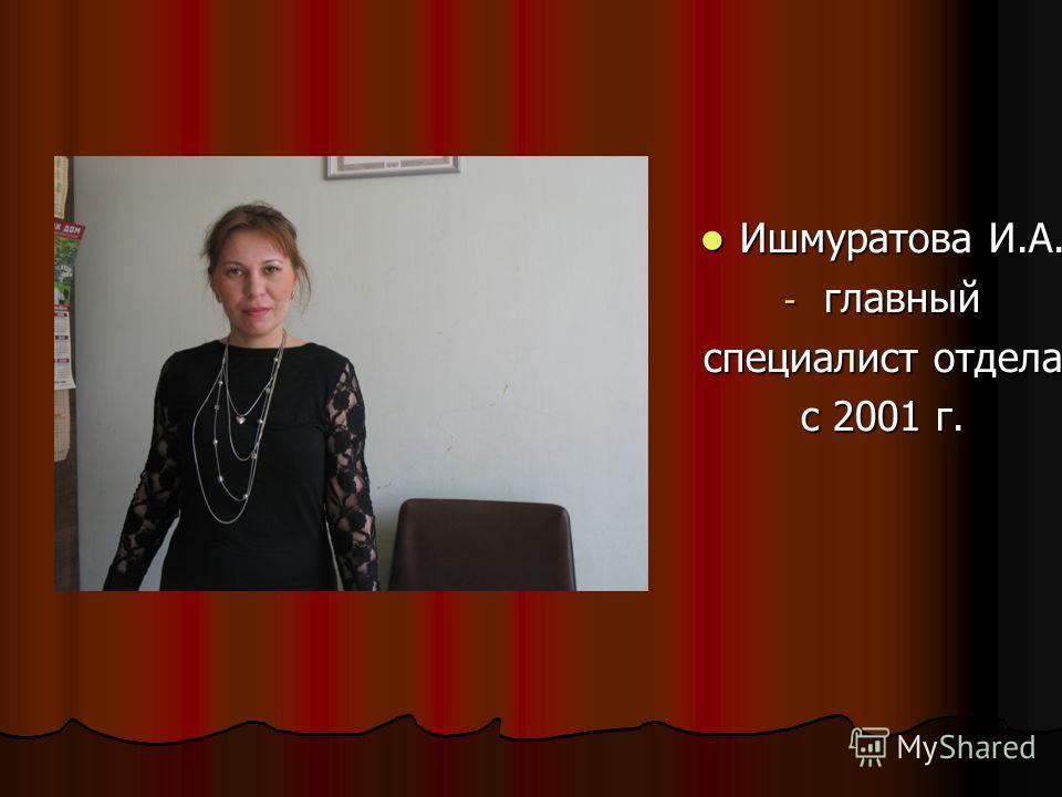 Ишмуратова И.А. Ишмуратова И.А. - главный специалист отдела с 2001 г.