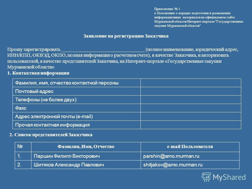 Приложение 1 к Положению о порядке подготовки и размещения информационных материалов на официальном сайте Мурманской области Интернет-портале