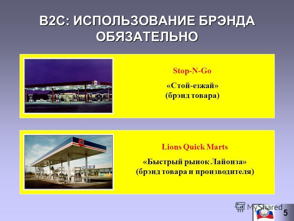 B2С: ИСПОЛЬЗОВАНИЕ БРЭНДА ОБЯЗАТЕЛЬНО Stop-N-Go «Стой-езжай» (брэнд товара) Lions Quick Marts «Быстрый рынок Лайонза» (брэнд товара и производителя) 5