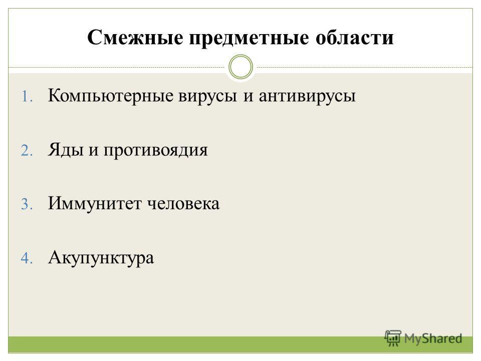 Смежные предметные области 1. Компьютерные вирусы и антивирусы 2. Яды и противоядия 3. Иммунитет человека 4. Акупунктура